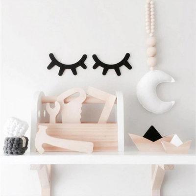 Wanddecoratie wimpers zwart