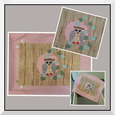 Boxkleed Uil roze steigerhout