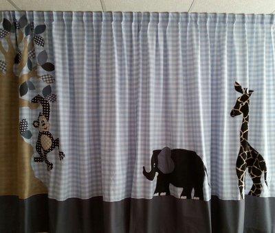 Handgemaakte gordijnen safari boom aap giraf en olifant