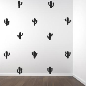 Muursticker set Cactus zwart