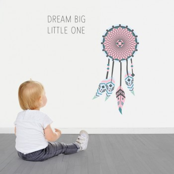 Muursticker Dromenvanger met tekst Dream Big Litlle one