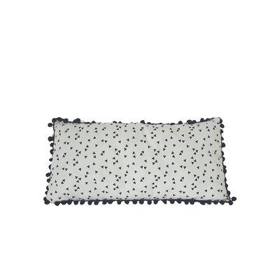 Kussen wit driehoekje zwart bolletjesband