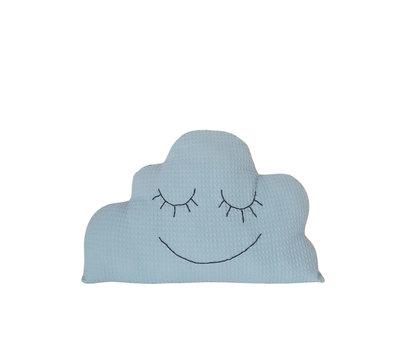 Wolken kussen wafelstof lichtblauw