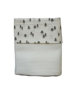 Ledikant deken wafelstof wit met boompjes