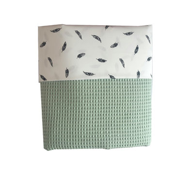 Ledikant deken wafelstof old green veren