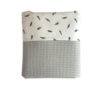 Ledikant deken wafelstof poedergrijs veren