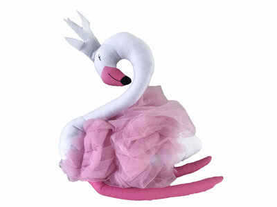 Flamingo Knuffel tule fuchia