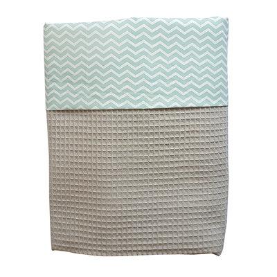Ledikant deken wafelstof poedergrijs mint zigzag