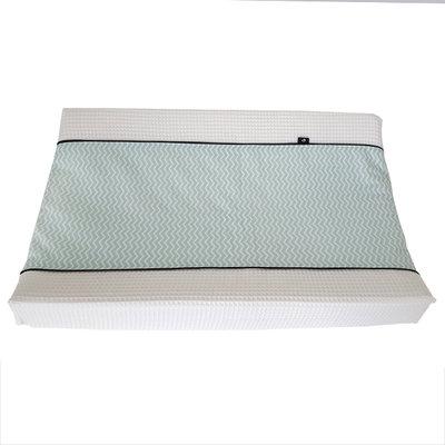 Aankleedhoes wafelstof wit zigzag mint