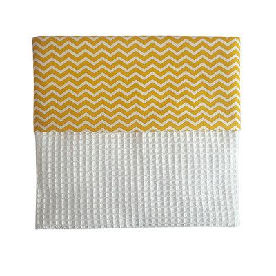 Ledikant deken wafelstof zigzag oker
