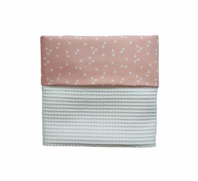 Ledikant deken wafelstof wit triangle roze