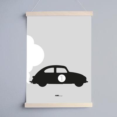 Poster Auto nr 1 grijs