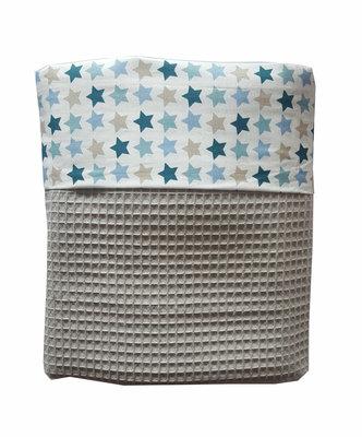 Ledikant deken wafelstof poedergrijs Stars