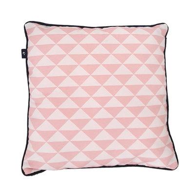 Kussen wafelstof poedergrijs driehoek poeder roze