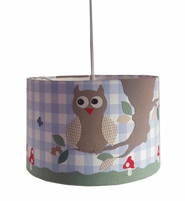 Hanglamp Uil op tak lichtblauw