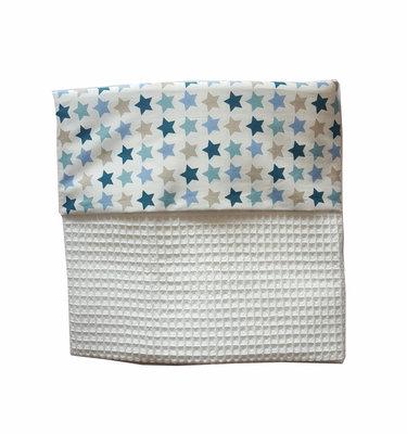 Ledikant Deken wafelstof wit/sterren
