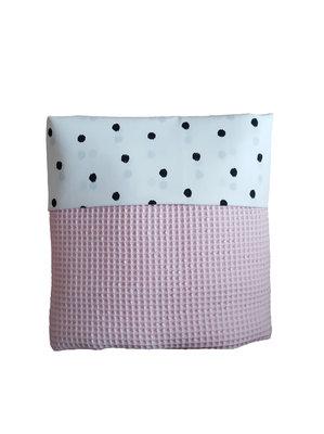 Ledikant deken wafel poeder roze stip