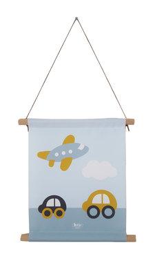 Textiel poster Vliegtuig & Auto oker/blauw