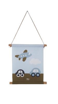 Textiel poster Vliegtuig & Auto blauw/legergroen