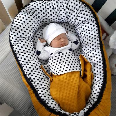 Baby nestje set wafelstof oker/stippen