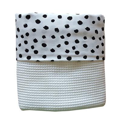 Ledikant deken wafelstof wit/stippen