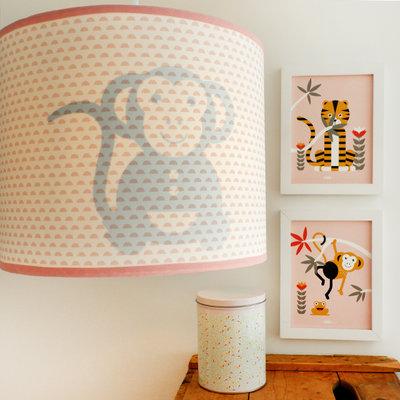 Lamp aapje silhouet roze maantjes