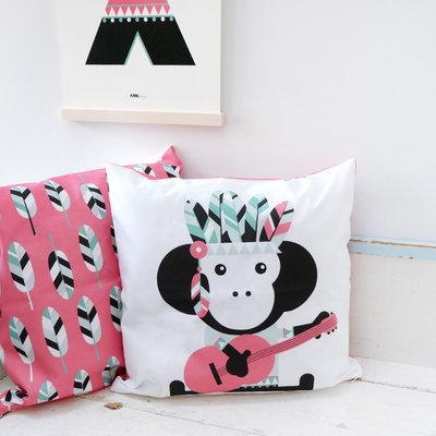 Kussen indiaan aapje roze
