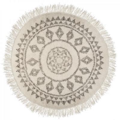 Rond tapijt, zwart wit