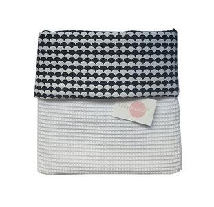 Ledikant deken wafelstof wit druppels