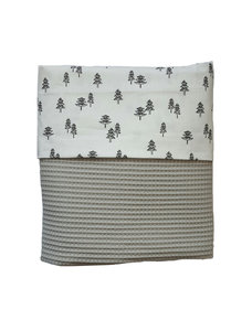 Ledikant deken wafelstof poedergrijs boompjes
