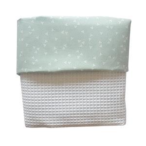 Ledikant deken wafelstof wit triangle mint
