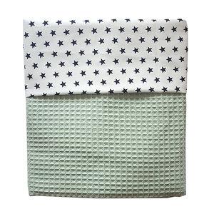 Ledikant deken wafelstof wit sterren