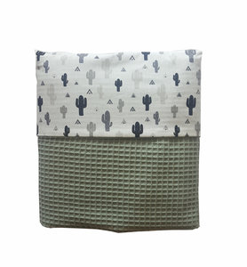 Ledikant deken Wafelstof poedergroen / cactus