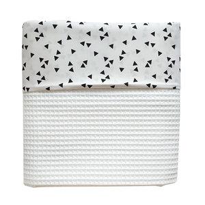 Ledikant deken wafelstof triangle wit