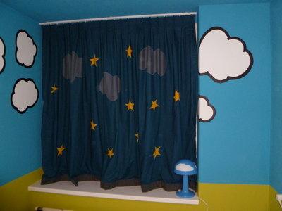 Gordijnen met wolken & sterren - Bi&Li Creaties