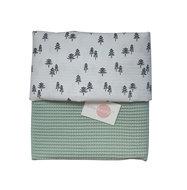Ledikant deken wafelstof poedergroen boompjes
