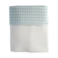 Ledikant deken wafelstof wit wiebertje blauw