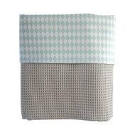 Ledikant deken lichtgrijs wafelstof wiebertje blauw
