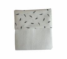 Ledikant deken wafelstof wit met veren