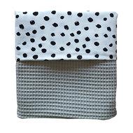 Ledikant deken wafelstof grijs/stip